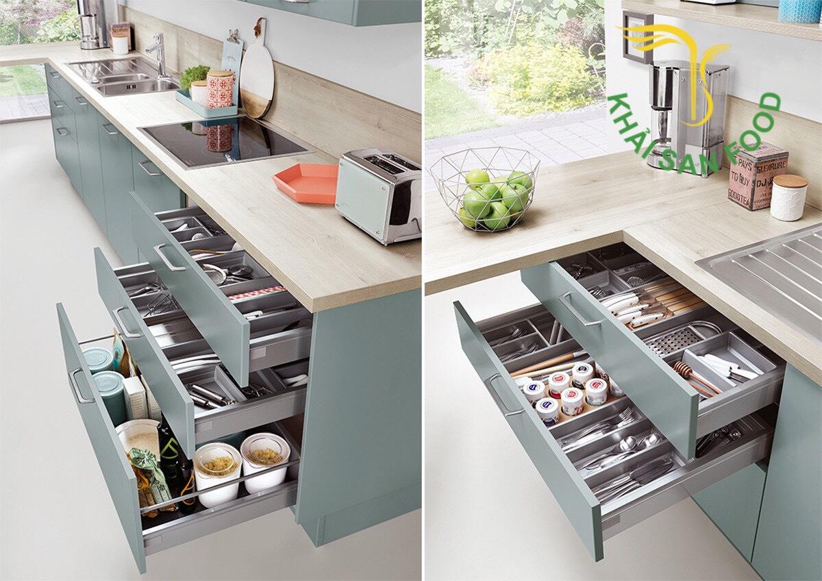 Tùy theo từng không gian khác nhau, người ta sẽ cho ra đời các thiết kế tủ bếp linh hoạt. Với hình minh họa sau, quả thật nhìn là muốn sở hữu ngay 1 cái